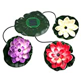 LSHCX Solar Powered Floating Lotus Flower LED Light for Garden Pool Pond Night light