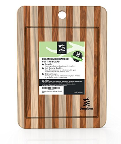 Bamboo Cutting Board With Drip Groove and Non-Slip Feet For Meat & Veggie Prep