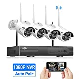 Cheap 8-Channel HD 1080P Wireless Security Camera System(Wireless NVR Kits),4Pcs 960P 1.3MP IP Security Camera Wireless Indoor/Outdoor IR Bullet IP Cameras WiFi,P2P,App, NO Hard Drive,HisEEu[8CH Expandable
