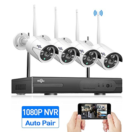 8-Channel HD 1080P Wireless Security Camera System(Wireless NVR Kits),4Pcs 960P 1.3MP IP Security Camera Wireless Indoor/Outdoor IR Bullet IP Cameras WiFi,P2P,App, NO Hard Drive,HisEEu[8CH Expandable