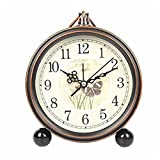 LLSJZ European-style fashion retro small alarm clock mute metal alarm clock, Yingge Butterfly Dance