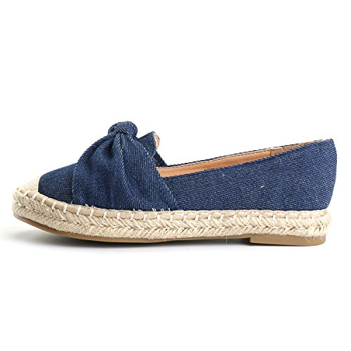 Alexis Leroy Women's Closed Toe Slip-On Bow Espadrille Loafer Flats Dark Blue40 M EU/9-9.5 B(M) US by Alexis Leroy (Image #2)