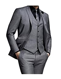 JY Mens 3 Pieces Mens Suits Groom Wedding Party Tuxedos Formal Suits