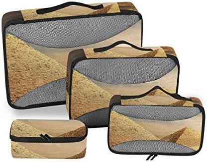 トラベル ポーチ 旅行用 収納ケース 4点セット トラベルポーチセット アレンジケース スーツケース整理 エジプトのピラミッド 収納ポーチ 大容量 軽量 衣類 トイレタリーバッグ インナーバッグ