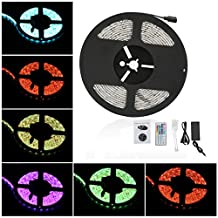 Anten LED RGB Waterproof Strip Lights SMD 5050 16.4ft 5M 300leds 20 Colors Changing Flexible LED Rope Lights with 44Key Remote 12V Power Supply IR Control Box