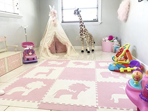 SoftTiles Foam Mat- Large Children's Playmat - Safari Animals Premium Nontoxic Interlocking Floor Tiles for Baby Nursery and Kids Playrooms- 6.5 x 6.5 ft.- (Light Pink, White)