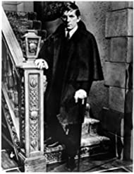 Dark Shadows (TV Series '66-'71) 8x10 Photo B&W Jonathan Frid Wearing Cape Leaning on Cane at Bottom of Staircase kn