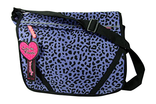 Cutie Patootie Leopard Print Messenger Book Bag (Lilac Purple)