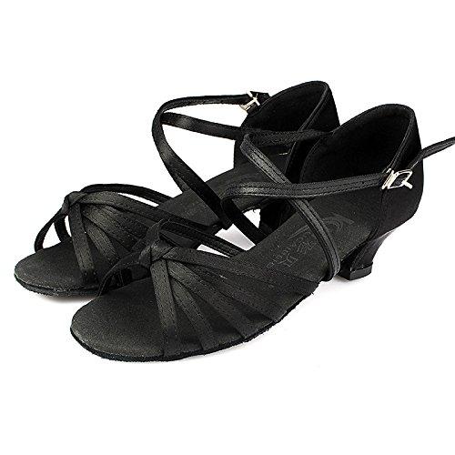 SQIAO-X- Scarpe da ballo Kraft fondo morbida tela fibbia Square Dance Dance Latina, Adulti Professional scarpe da ballo, nero,41