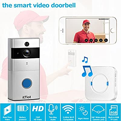 itTiot Video Doorbell, Smart Doorbell with Ding Dong/Chime and 8GB Memory Card,Two-Way Talk and Night Vision,Compatible with IOS and Android