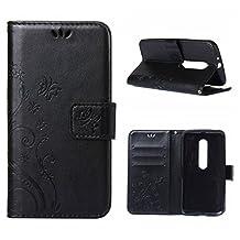 MOONCASE Moto G (3rd Gen) G3 Wallet Case Flower Pattern Premium PU Leather Case for Motorola Moto G (3rd Generation) Bookstyle Soft TPU [Shock Absorbent] Flip Bracket Cover Black
