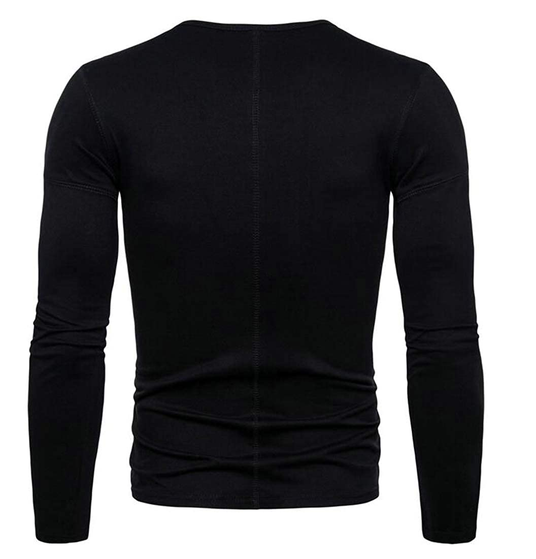 XTX Men Long-Sleeve Crew Neck Tee上衣 Solid Color Stretch Slim T-Shirts