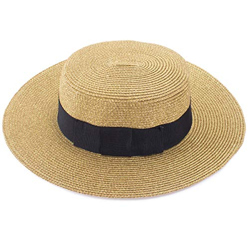 Lawliet Retro Womens Flat Top Panama Boater Dress Glitter Beach Sun Hat T241 Gold -