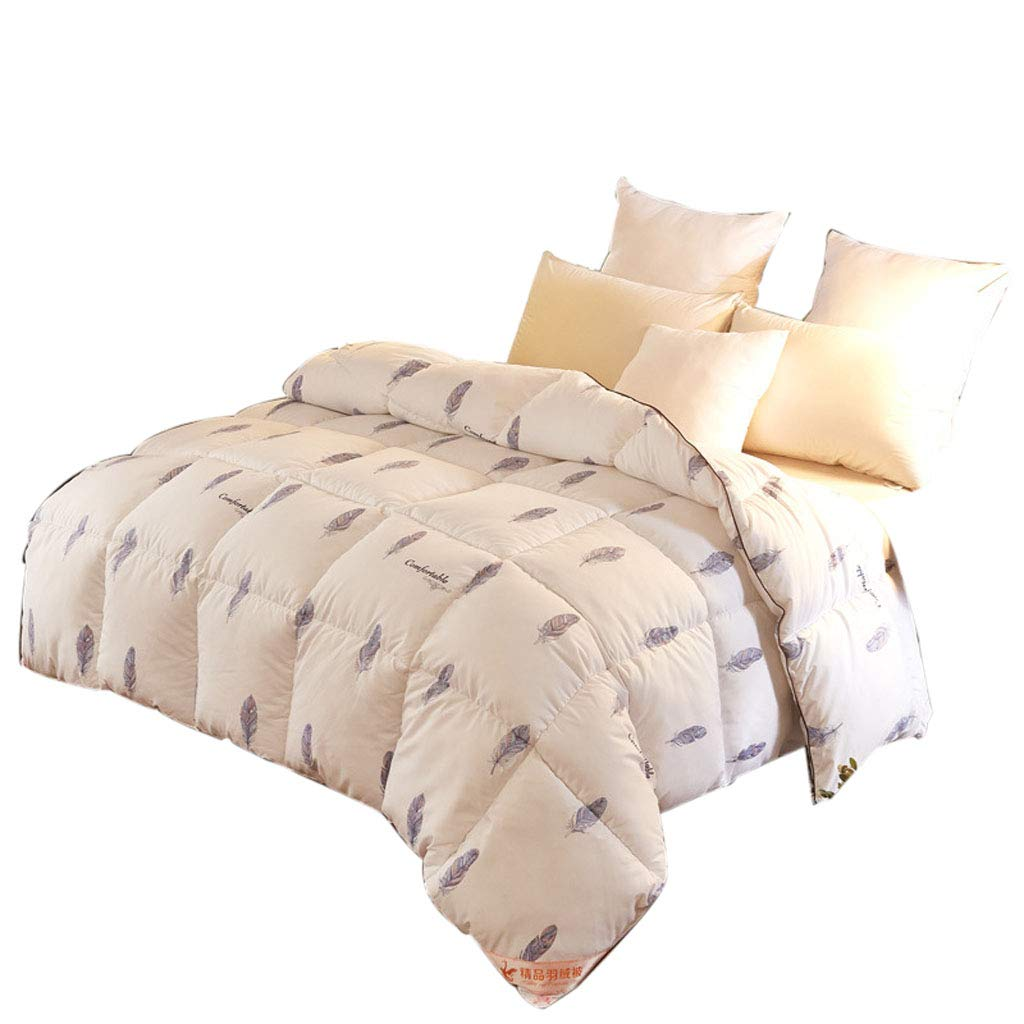 Mesurn JP 綿の布団、95%白いガチョウ、美しい花の形、素晴らしい仕上がり、厚い暖かいキルト200 * 230cm B07KTYPPWN White w-4kg