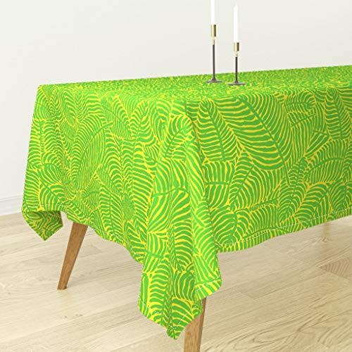 (Roostery Palm Trees Tablecloth - Palm Trees Tropical Summer Botanical Palm Trees Palm Fronds Green and Yellow The by Theprimefloridian - Cotton Sateen Tablecloth 70 x 120)