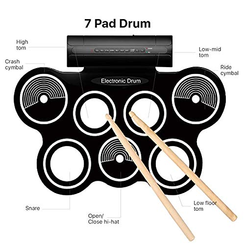 SJDZQ Electronic Roll Up MIDI Drum Kit 7 Electric Drum Pads, Built-in Speakers, Foot Pedals, Drumsticks Roll Up Drum Kit Loaded