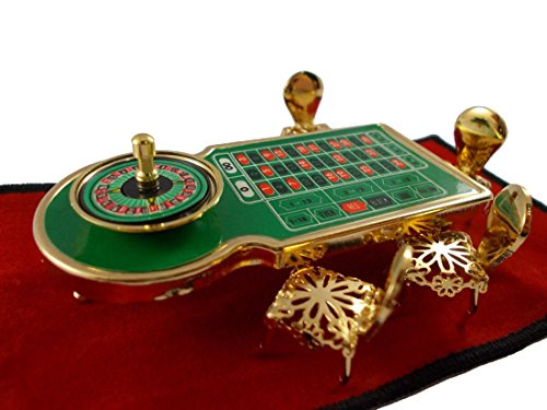 - Roulette Table and Chairs Miniature Table Casino Brass Decor Figurines Chairs Dollhouse Brass collectibles Furniture