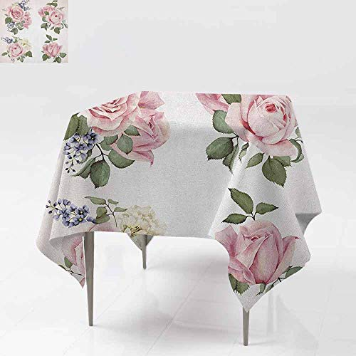 - DUCKIL Polyester Tablecloth Springtime Set of Bouquets of Roses Bridal Flora Corsage Gentle Nature Indoor Outdoor Camping Picnic W70 xL70 Pale Pink Reseda Green
