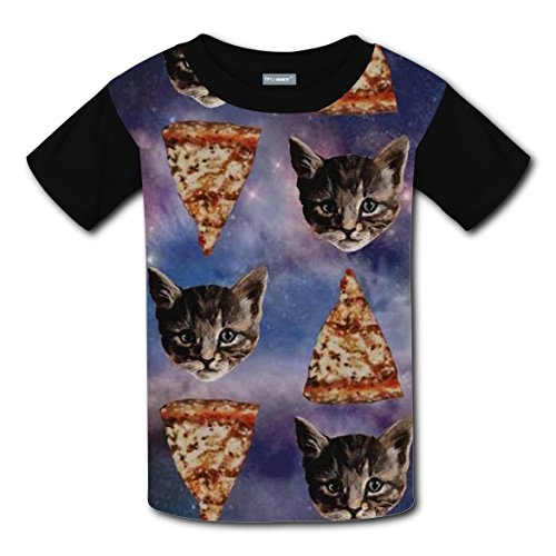 Xbox Costume Ideas (Cat Eating Pizza Kids Original Design Funny Print T-shirts Top Crew Neck Boys Girls XS)
