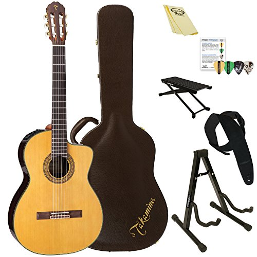 Takamine TC132SC Classical Nylon String Acoustic -Electric Guitar with Hard Case & ChromaCast Accessories