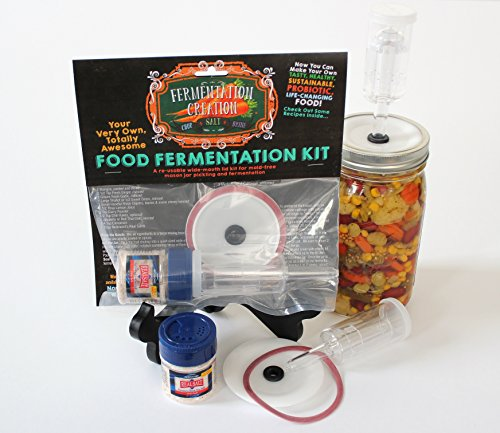 Fermentation Airlock Lid Kit for Mold-Free Wide Mouth Mason Jar Pickling and Fermenting- Make Your Own TASTY, HEALTHY, SUSTAINABLE, PROBIOTIC, LIFE-CHANGING FOOD AT HOME! By Fermentation Creation by Fermentation Creations