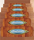 iPrint Non-Slip Carpets Stair Treads,Nautical Decor,Porthole on The Wooden Background Window Ship at The Old Sailing Vessel,(Set of 5) 8.6''x27.5''