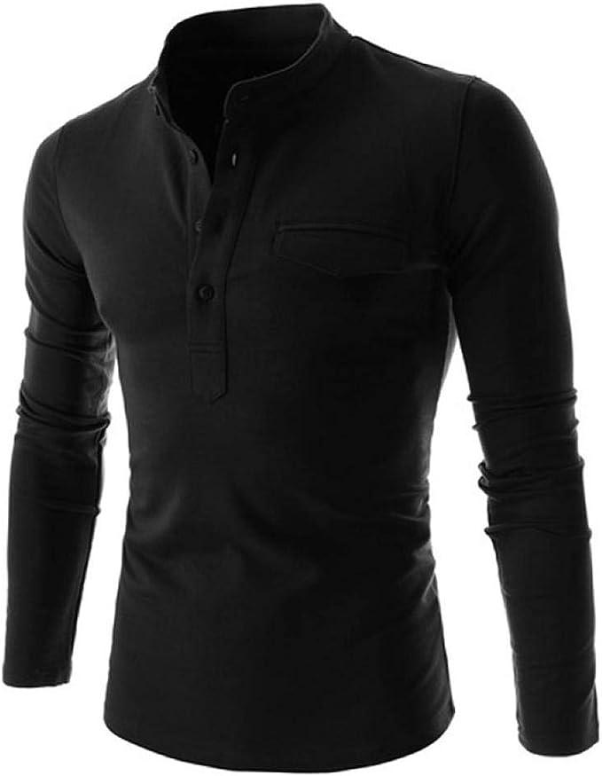 Mens Casual Long Sleeves Shirts Henley Shirt Grandad Neck T-Shirts Tees Button Placket Top
