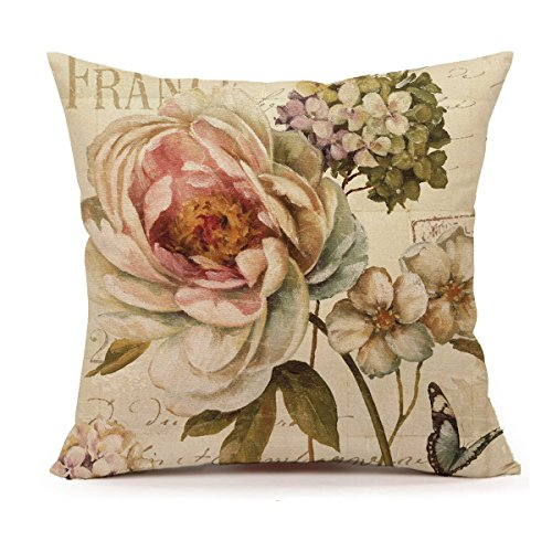 4TH Emotion Marche de Fleurs III by Lisa Audit Vintage Flower Butterfly Home Decor Design Throw Pillow Cover Pillow Case 18 x 18 Inch Cotton Linen for Sofa