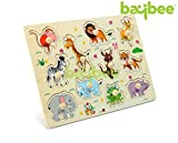Baybee Wild Animals Premium Wooden Puzzle / Educational Toy with Knobs for Children B (Animals)