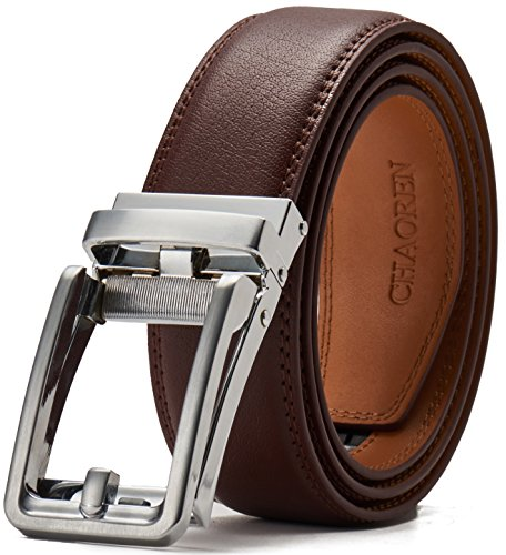 - Leather Ratchet Belt for Men with One Click Buckle-Trim to Custom Comfort Fit and Adjustable Dress,Presented in a Gift Box