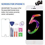 For iPhone 5 (White) Screen Replacement With Home Button - MAFIX Full Pre-assembly LCD Display Digitizer Touch Screen Kit Include Repair Tools & Screen Protector