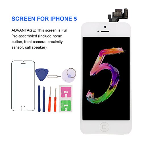 For iPhone 5 Screen Replacement With Home Button - MAFIX Full Pre-assembly LCD Display Digitizer Touch Screen Kit Include Repair Tools & Screen Protector, White