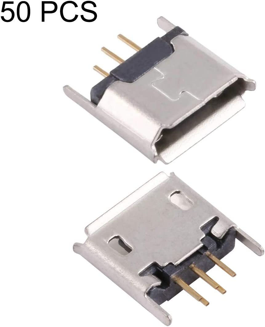 Electroplated and Coated with Tin Film USB Connector SHUHAN Computer Accessorry Computer Connector 50 PCS Micro USB 5P//F 180 Degrees Lengthened Needle Connector with Crimping