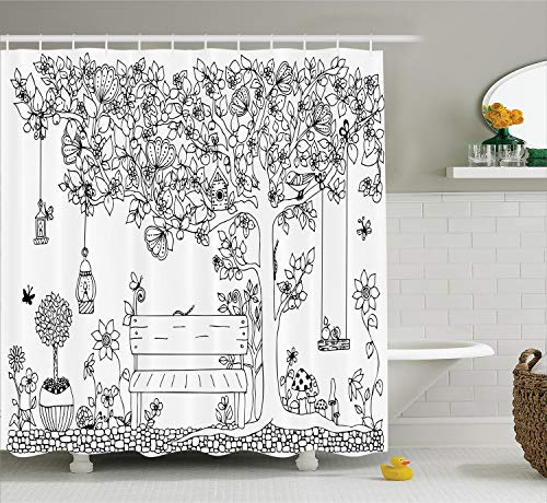 Ambesonne Farm House Decor Collection, Floral Tree with Lanterns Butterflies and Swing in Garden Dream Space Illustration, Polyester Fabric Bathroom Shower Curtain, 84 Inches Extra Long, Black White