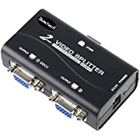 1 PC TO 2 Monitors VGA Video Splitter Distribution Amplifier 250MHz Supports High Resolution up to 1920x1400