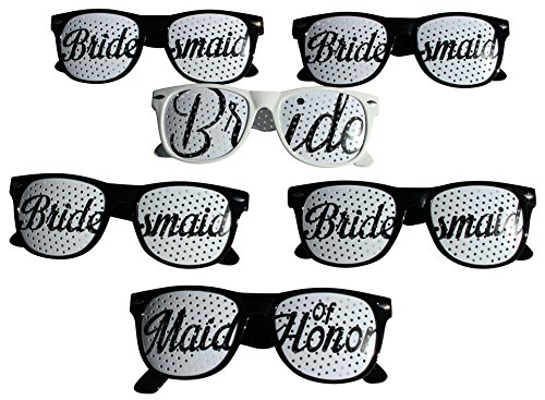 Party Wedding Sunglasses, 6pc set! Perfect for Bachelorette Parties, Party Favors, Wedding Photo Booths (Black, White)