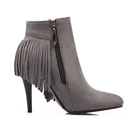 1TO9 Girls Tassels Zipper Winkle Pinker Imitated Suede Boots Gray m0TyQVaFm