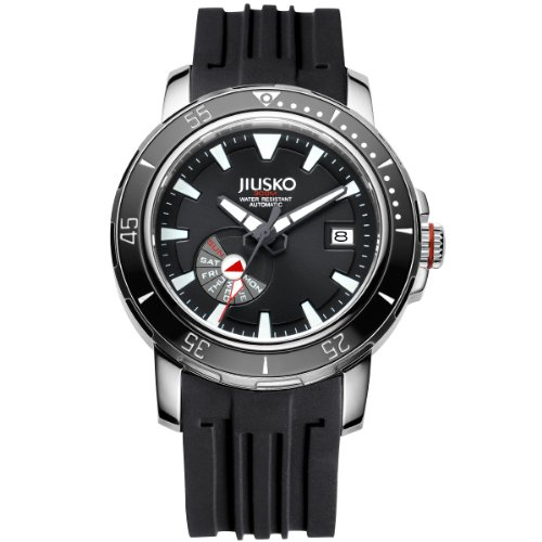 Day Date Automatic Titanium Watch - Jiusko Mens 24 Jewel Automatic Deep Dive Watch - 300m Scuba - Sapphire - Day Date - Black Dial - Black Rubber Strap - 75LSB02