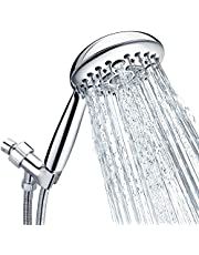 """Shower Head, SR SUN RISE 6-Settings 4.8"""" High Pressure Handheld Shower Head Set with 2.45 Meter/96 Inch/ 8 FT Long Shower Hose and Shower Arm Mount with Brass Ball Joint,Chrome"""