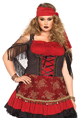 Leg Avenue Women's Plus-Size Mystic Vixen Costume, Burgundy/Black, 1X - Woman Gypsy Costumes