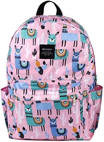 SHOOGOO Grass Mud Horse Teens Schoolbag Backpack for Girls Lightweight Bookbag (PINK 2)