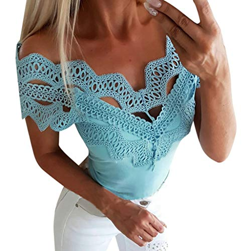 Sunhusing Women's Solid Color Openwork Lace Stitching Sexy V-Neck Slim Vest Summer Casual T-Shirt Tops Blue