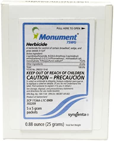 Monument 75 WG Selective Herbicide for Warm Season Turf Grasses-Box of 25 grams (5x5gm packets)