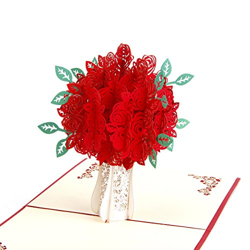 Loyoc I Love You Rose Flower Pop up Card Thank you Greeting Card Gift to Girl Friend Boy Friend Mom Dad Handmade Happy Anniversary Cards for Wife(Rose, Red Cover)