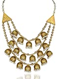 Sansar India Oxidized Jhumka Style Golden Multistrand Indian Necklace Jewelry for Women