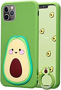 iPhone 11 Case Cute iPhone 11 Case, iPhone 11 Cute Case 3D Cartoon Fruit Food Avocado Shaped Soft Silicone iPhone 11 Case for Women Teen Girls Rubber Cover Cute Phone Cases iPhone 11-6.1