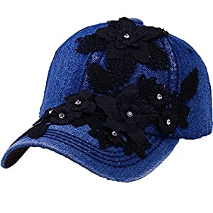 Sequins Flower Baseball Cap Women Cotton Sun Hat Rhinestone Snapback Hip Hop Hat