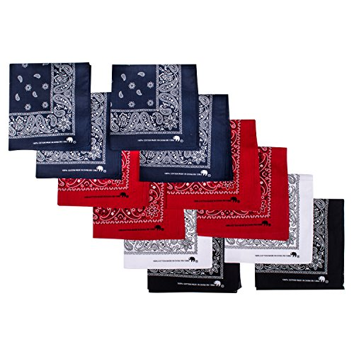 Elephant Brand Bandanas 100% cotton since 1898-12 Pack (Assorted Basic)