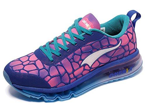ONEMIX Women's Air Cushiong Running Shoes,Lightweight Sport Athletic Sneakers,Blue/Red,Men 5.5(M)US 38EU/women 7(M)US 38EU