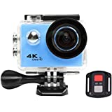 Acouto HD 4k 12P 2 Inch 170°Wide Angle Wifi Action Camera Anti-Shake Sport Camera 30m underwater Camcorder DV Recorder with Controller Accessories Kit-EU Standard (Blue)